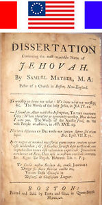 1760 Samuel Mather On The Name Of Jehovah New England Bible Cotton Witch Trials