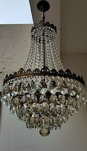 Antique Vintage French Style Brass Crystals Giant Chandelier Lighting 50 S