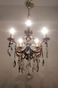 Antique Vintage 5 Arms Brass Crystals Chandelier Ceiling Light Lighting 50 S