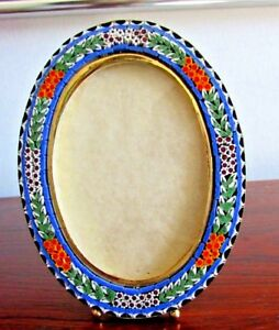 Vintage Millefiori Micro Mosaic Large 3 X 4 Oval Photo Frame 24k Finish