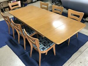 Mid Century Heywood Wakefield Butterfly Drop Leaf Dining Table Set With 7 Chairs