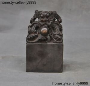 Old China Fengshui Bronze Dynasty Dragon Loong Beast Statue Seal Stamp Signet
