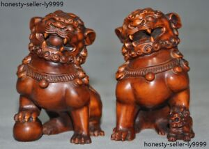 Old China Chinese Boxwood Wood Hand Carved Foo Dog Lion Rich Animal Statue Pair