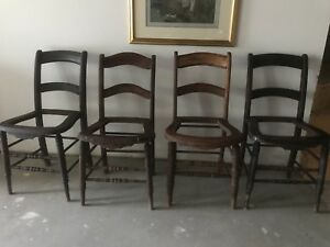 4 Matching Victorian Chairs With Holes For Cane Bottom In Good Condition