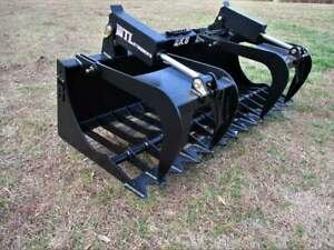 Mtl Attachments Rk5 60 Skid Steer Rock Grapple Bucket Twin Cylinder 169 Ship