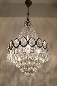 Antique Vintage French Style Brass Crystals Large Chandelier Lighting 1950 S