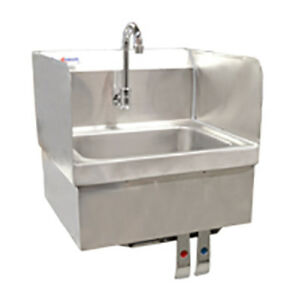 Stainless Steel Wall mount Hand Sink With Knee Valve And Faucet Omcan 22288