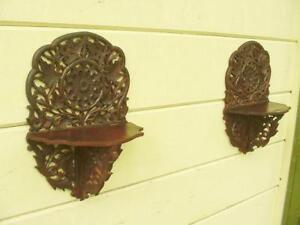 Antique Pair Victorian Carved Walnut Folding Wall Clock Shelf Highly Detailed