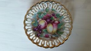 Royal Sealy China Fruit Pattern Gold Trim Reticulated Saucer Japan