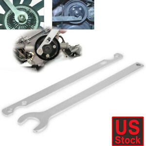 2pc Fan Clutch Nut Wrench Spanner Set Water Pump Holder Removal Tool Kit For Bmw