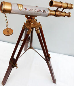 Antique Leather Brass Telescope Double Barrel Scope With Wooden Tripod Christmas