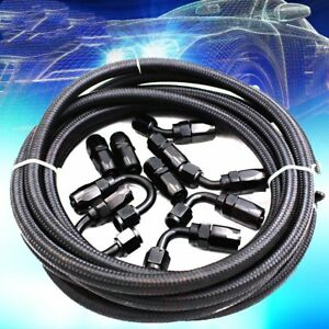 An8 8an An 8 Fitting Stainless Steel Nylon Braided Oil Fuel Hose Line 16ft Kit