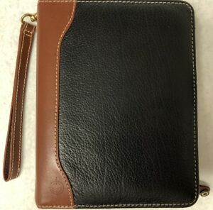 Franklin Covey Zipper Planner Binder Black Tan Verona Aniline Leather Usa Made