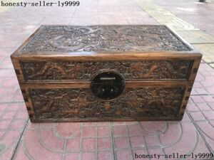 18 A Antique Chinese Palace Huanghuali Wood Carved Ten Dragons Cabinet Chest Box