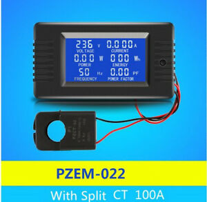 Ac 80 260v 6in1 Single Phase Digital Watt Power Meter Current With Split Ct