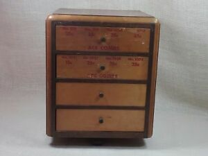 Antique Ace Combs Store Display 4 Drawer Wooden Cabinet Paper Advertising
