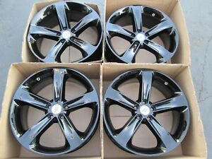 20 Dodge Charger Challenger Gloss Black Wheels Rims Set 4 Oem Caps