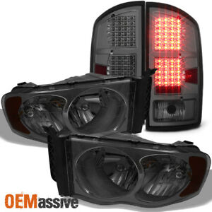 Fit 2002 05 Dodge Ram 1500 03 05 Ram 2500 3500 Smoke Headlights Led Tail Lights