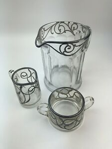 3pc Floral Silver Overlay Glass Pitcher Creamer Sugar A