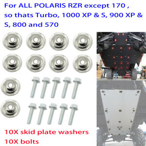10X Skid Plate Washers W/ Bolts For Polaris Ranger RZR 1000 900 800 570 XP Turbo