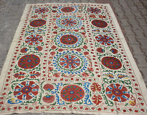 Silk Suzani 5x7 Suzani Bedspread Wall Hanging Tapestry Hand Embroidered 60x84