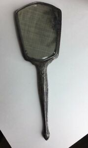 Wallace And Sons Sterling Silver Hand Held Mirror Antique Art Nouveau