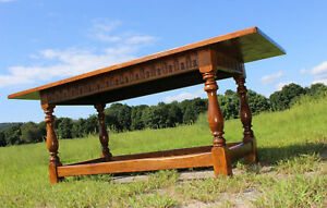 Rare Large Antique Oak Farm House Dining Table