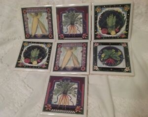Vintage Ceramic Tiles Art 4 3 8 X 4 3 8 In Sqaure 1 4 In Thick Hand Painted