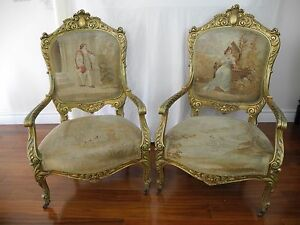 Antique French Hand Made Abousson Tapestry Gild Carved Gold Wood Chairs