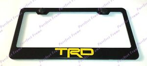 Yellow Trd Black Stainless Steel License Plate Frame W Bolt Caps
