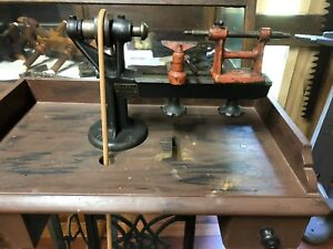 Antique Goodell pratt Number Jeweler s Lathe With Stand Pedal