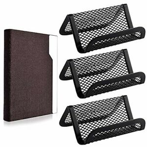 3 Pieces Metal Mesh Desk Business Card Holder Display With 1pcs Brown Steel