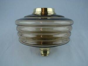 Superb Antique Oil Lamp Font Pale Amber Ribbed Design Glass Brass Fittings