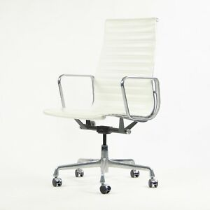 2007 Eames Herman Miller Leather High Executive Aluminum Group Desk Chair White
