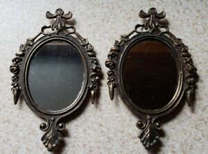 Vintage Small Brass Pair Of Mirror Frames Made In Italy