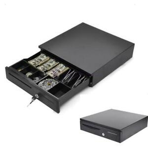 Cash Drawer Box 5 Bill 5 Coin Tray Compatible Works W pos Printers Black