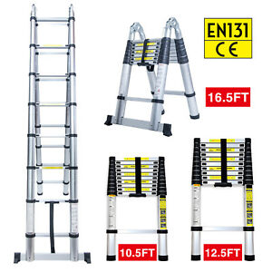 10 5ft 12 5ft 16 5ft Aluminum Multi purpose Telescopic Ladder Extension Foldable