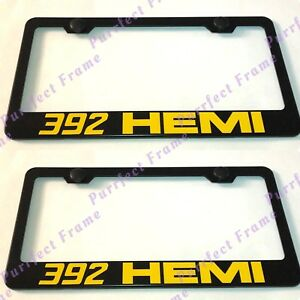 2x Yellow 392 Hemi Chevrolet Black Stainless Steel License Plate Frame W Caps