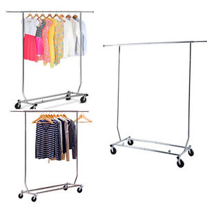 Heavy Duty Grade Commercial Clothing Garment W Rolling Collapsible Rack Hanger