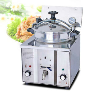 16l Commercial Electric Countertop Pressure Fryer 16l Stainless Chicken Fish New