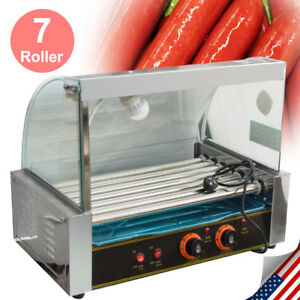 Us 18 Hotdog 7roller Grill Cooker Grilling Commercial W Cover Machine Equipment