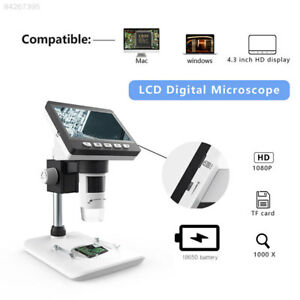 Portable 1080p 4 3inch Lcd Screen 1000x 8led Smart Digital Microscope Desktop