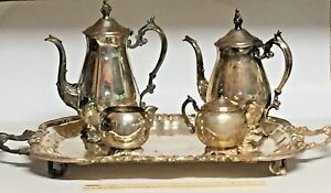Fb Rogers Silver Co Lady Margaret Tray With Teapot Coffeepot Cream Sugar Set