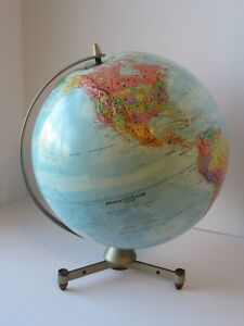 Vintage Replogle Stereo Relief Globe 12 W Ussr Industrial Style Base Made Usa