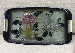Vintage Davar N Y Japanese Lacquer Ware Painted Tray Mums Flowers Green C 1965