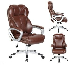 Leather Office Chair Brown Comfortable Mid Back Durable office