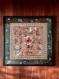 Vintage Chinese Silk Embroidery Rose Flowers Panel With Frame