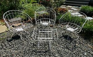 3 Vintage Homecrest Wire Metal Mid Century Chairs With Footrest Iron Patio Set