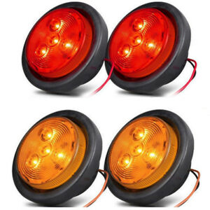 2 5 Round Led Clearance 4 Leds Truck Trailer Side Marker Lights 2 Amber 2 Red