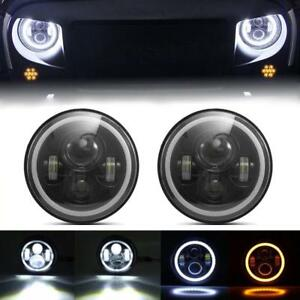 Pair 7 Led Halo Headlights For Jeep Wrangler Jk Tj Lj 97 18 Angel Eye Drl Hi Lo